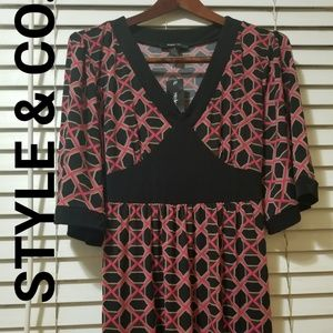AUTH WOMEN'S STYLE & CO. BELTED PRINT DRESS SZ L